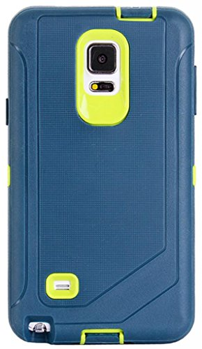 Huaxia Datacom Shock-Absorption / High Impact Resistant Full Body Hybrid Armor Protection Defender Case w/ Belt Clip Holster for Samsung Galaxy Note IV SM-N910S Late 2014 Model (NOT for Note 4 Edge) - Inner Yellow Core w/ Outer Dark Blue TPU