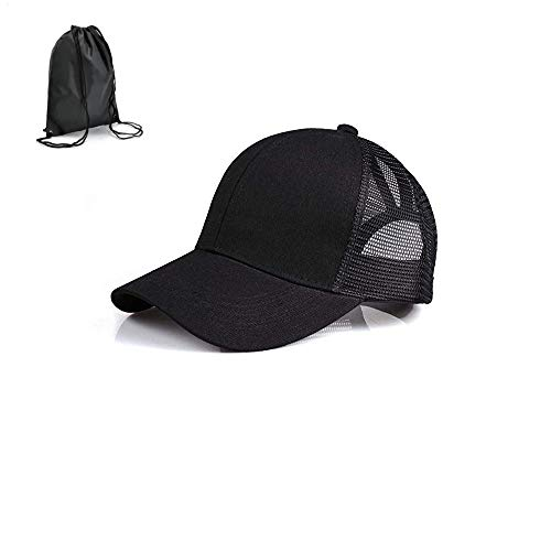Adjustable Ponytail Holder Visor Hats for Women Messy Trucker Hat Plain Ponytail Baseball Cap (Click to selest Black, Adjustable)