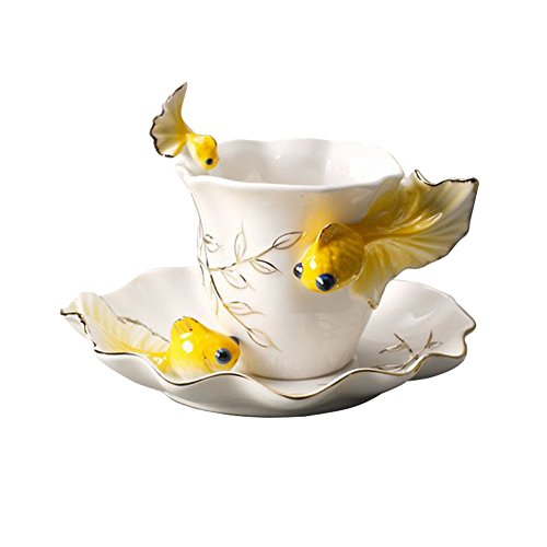 Creative Design Goldfish Coffee cups Suit Ceramic francs coloured drawing or pattern Creative tea cups Fashion gift (yellow)