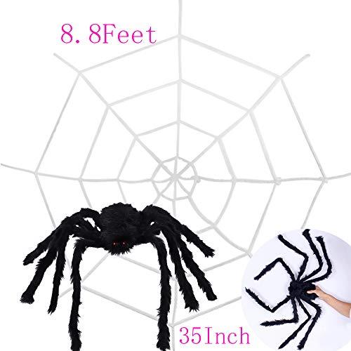 CDWERD Halloween 8.8ft Spider Web + 35.4 Inch