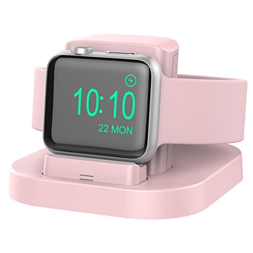Apple Watch Stand with Nightstand Mode, charging dock for Apple Watch Series1/ Series2/Nike+/42mm/38mm; Feature with Innovatory Adjustable Lift Platform. (Pink Sand) from BEACOO