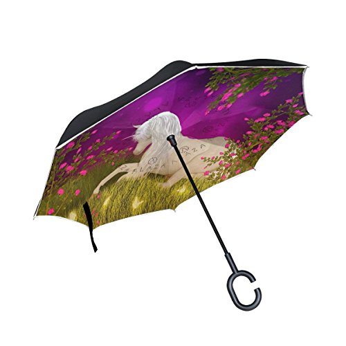 Ladninag White Unicorn Grass Inverted Umbrella, Large Double