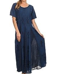 Sakkas Hailey Cap Sleeve Caftan Long Embroidered Stonewashed Dress