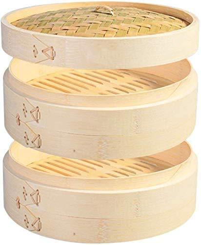 2 Tier Küche Bambus Dampfkorb für asiatische Brötchen Knödel Gemüse Fisch Reis (28 cm)