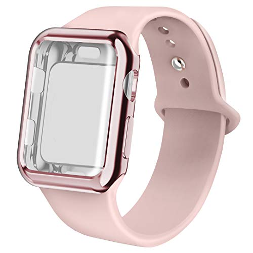 (jwacct Compatible for Apple Watch Band with Screen Protector 38mm, Soft Silicone Replacement Sport Band Compatible for Apple iWatch Series 1/2/3)
