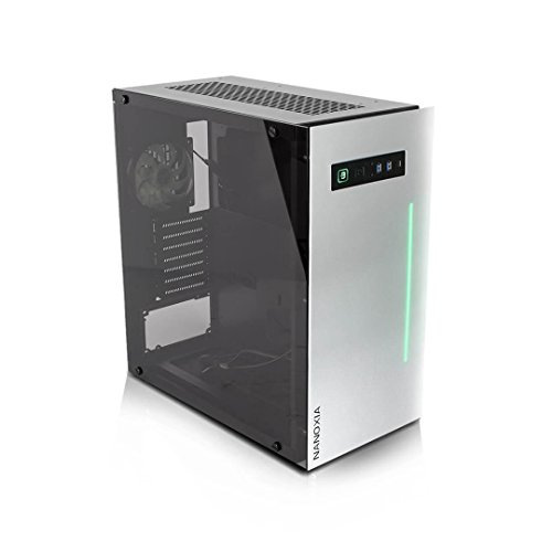 Project S Large Drawer Case ATX Mid Tower HTPC with Tempered Glass, Aluminum Front Panel and RGB LED Bar, Silver