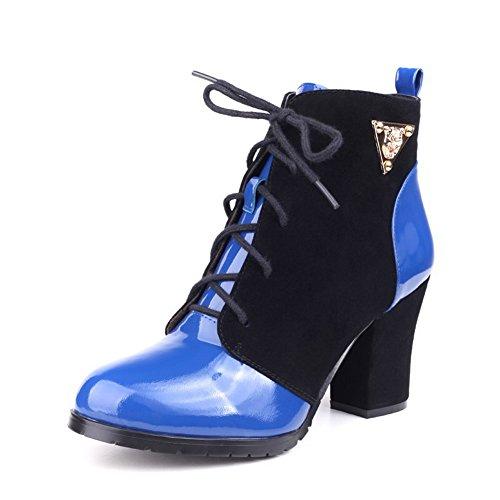 Stivali Tacchi A Spillo Con Punta Arrotondata Da Donna Amoonyfashion Con Ornamento In Metallo E Fasciatura Blu