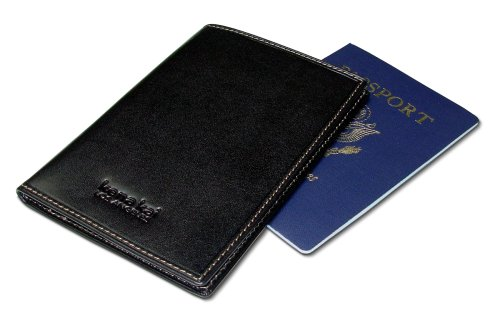 DataSafe Italian Leather Passport Wallet with RFID Security Feature (Black) -