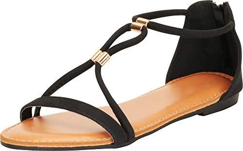 - Cambridge Select Women's Open Toe T-Strap Back Zip Flat Sandal,8.5 B(M) US,Black NBPU