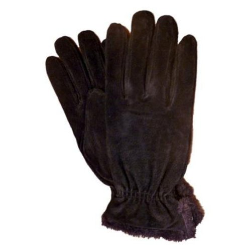 Isotoner Womens Brown Suede Gloves With Gathered Wrists & Microluxe Linings L (Isotoner Womens Suede Gloves With Gathered Wrist)