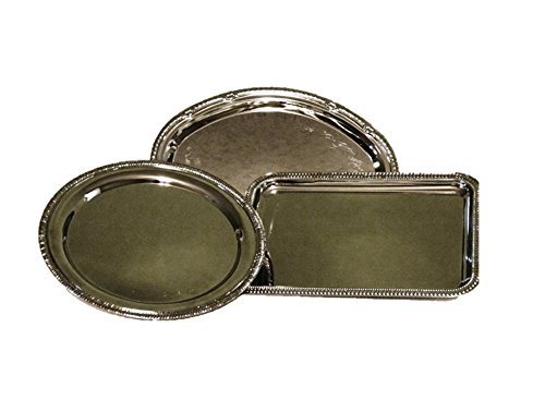 Nickel-plated Metal Serving Tray Set of 3 with Decorative Edges - Edge Serving Tray