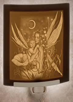 Crescent Moon Fairy - Curved Porcelain Lithophane Night Light - Art By David Delamare