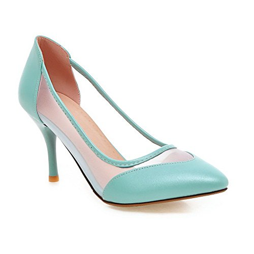 AllhqFashion Damen Ziehen auf Spitz Zehe Stiletto Blend-Materialien Rein Pumps Schuhe Himmelblau