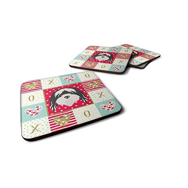 Caroline's Treasures CK5241FC Set of 4 Tibetan Terrier Love Foam Coasters Set of 4, 3 1/2 x 3 1/2, multicolor 1