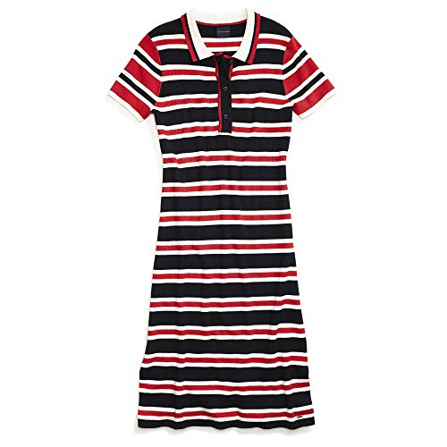 (Tommy Hilfiger Women's Adaptive Polo Dress with Magnetic Buttons, Masters Navy/Medium X-Small)