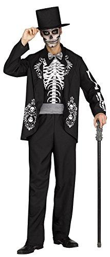 Dia De Los Muertos Costume Male (Fun World Men's Skeleton King Adult Costume, Multi,)