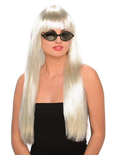 Cheap Wigs With Bangs (Platinum Blonde Pop Star Wig - Halloween)