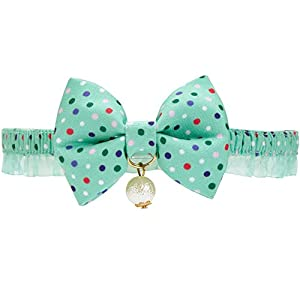 Blueberry Pet Refreshing Green Polka Dot Breakaway Bowtie Cat Collar Lace Choker Necklace with Handmade Bow Tie and… Click on image for further info.