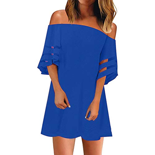 Striped Off Shoulder Shirt Tie Knot Casual Tops,Londony Women's Mesh Panel Blouse 3/4 Bell Sleeve Loose Top Shirt