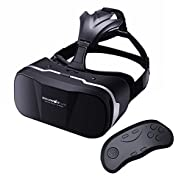 Vr Headset with Remote Controller BlitzWolf Goggles 3d Glasses Virtual Reality Headset for iphone 6 7 Plus Samsung Android Games Movies Compatible with 3.5-6.3 inch Screens