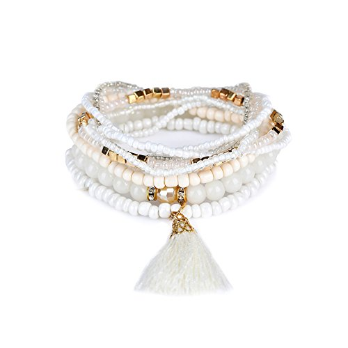 lureme Bohemian Beads Pearl Tassel Multi Strand Textured Stackable Bangle Bracelet Set-White(bl003054-1)