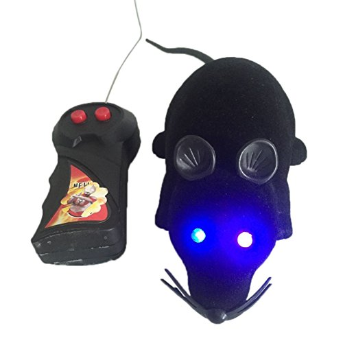 Dragonfly Remote Control Toy (Lanlan 1 PCS LED Light Remote Control Mouse Simulation Flocking Mice RC Animal Toys Pet Supplies Cat Trick Toy Hunting Game Accessories Joke Prank Toy Black)