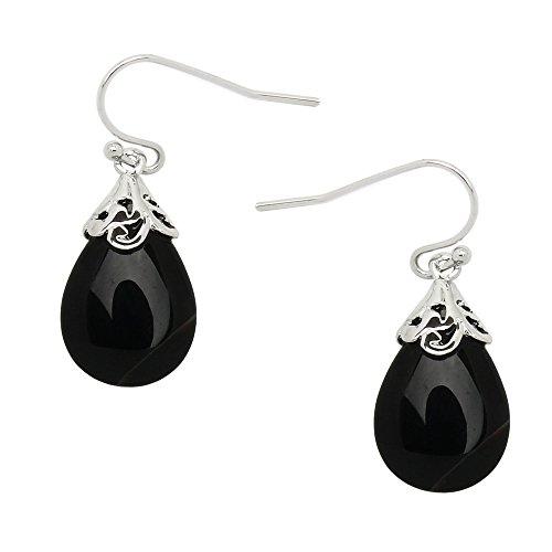 ped Natural Stone Earring High Polished Rhodium Black Onyx E0320-BO ()