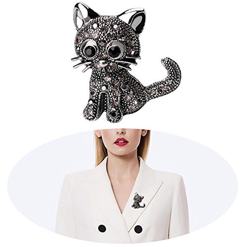 LQANG Cat Brooch Kitten Rhinestone Crystal Brooch Pins Christmas Cat Hat Sweater Pin Women Girls Xmas Cute Wedding Bridal Holiday Breastpin Delicate Charms Jewelry Black Plated