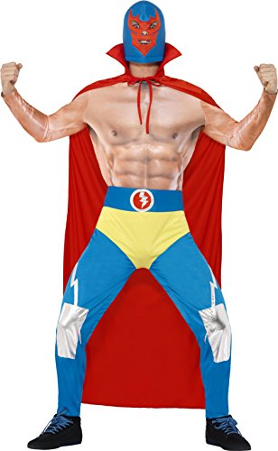 Smiffy's Men's Mexican Wrestler Costume, Cape, Leggings, Attached pants and Mask, Around the World, Serious Fun, Size L, (Woman Wrestler Costume)