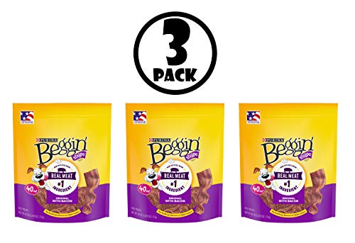 Purina Beggin' Strips Dog Training Treats; Original with Bacon - 40 oz. Pouch, 3 Pack