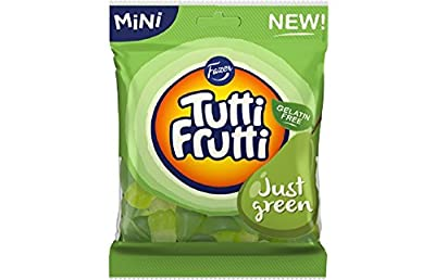 2 Bags X 80g of Fazer Tutti Frutti Just Green - Gelatin Free - Fruity - Wine Gums - Assorted - Candies - Sweets