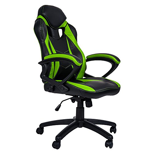 Merax Ergonomic Racing Style PU Leather Gaming Chair for Home and Office (Green Leather Frame)