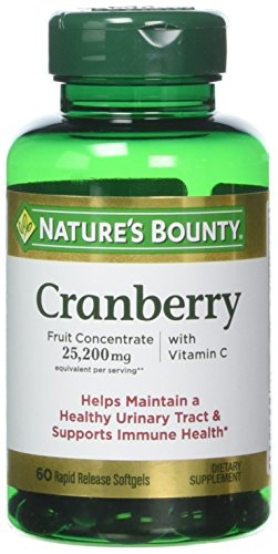 Nature's Bounty Cranberry with Vitamin C, 25,200 mg, 60 Softgels (Pack of 3)