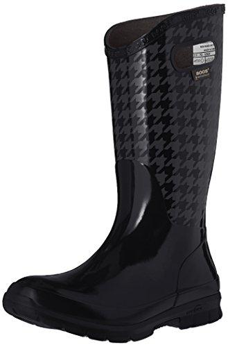 Bogs Women's Berkley Houndstooth Rain Boot, Black/Multi, 9 M US