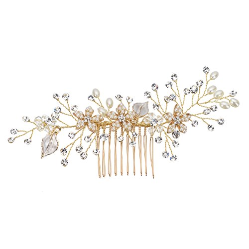 Remedios Vintage Flower and Leaf Inspiration Hair Comb Wedding Bridal Hair Accessory, Gold by Remedios