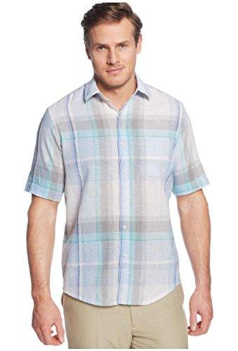 Tasso Elba Men's Philsum Linen Cotton Button Front Shirt, Small, Blue Combo -