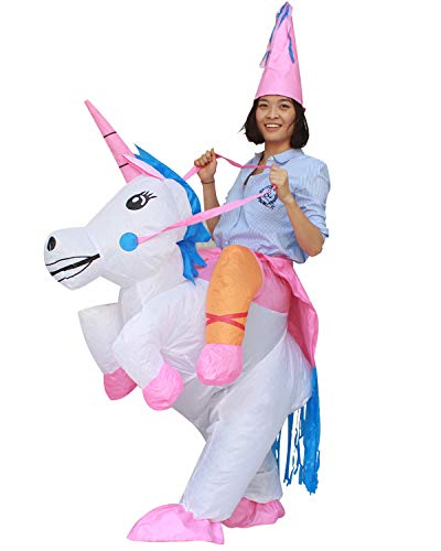 Seasonblow Inflatable Unicorn Costume Adult Fancy Halloween Party Fancy Dress up Suit Dress White