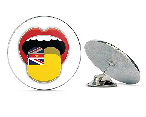"""Niue Flag Mouth Round Metal 0.75"""" Lapel Pin Hat Shirt Pin Tie Tack Pinback"""