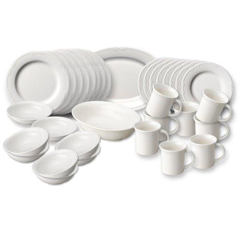 Pfaltzgraff Filigree  Dinnerware Set with Serveware, 34 Piece Service for 8