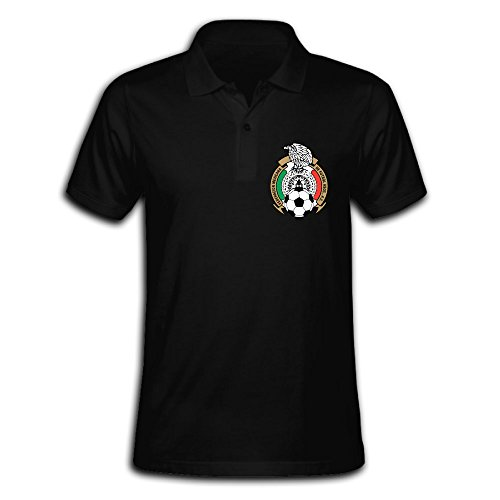 Men's Mexico 2016 Football Team Logo Solid Short Sleeve Pique Polo Shirt Black US Size M (Logo Polo Pique Team)