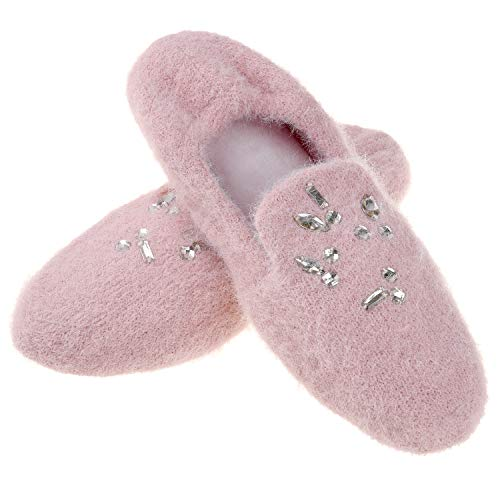 Women's Comfy Soft Memory Foam Ballerina Slippers Ladies Cashmere Knit Lightweight Slip on Spa House Shoes Decor with Rhinestone 9 10 M US Pink