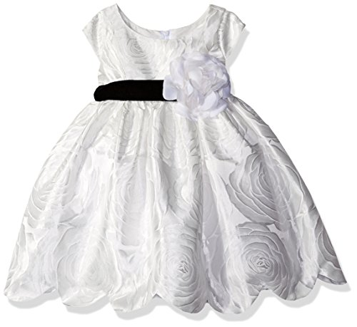 Sweet Heart Rose Baby Short Sleeve Jacquard Scallop Hem Flower Girl Dress, White 18M