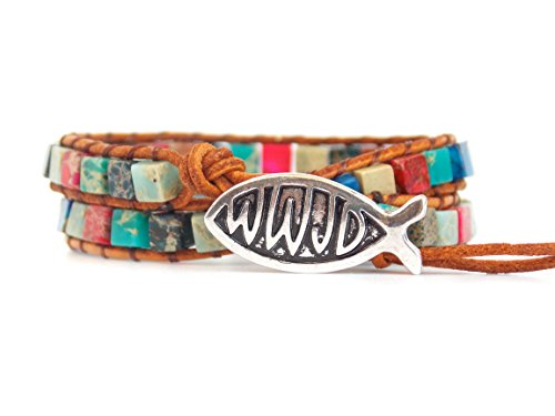 WWJD Bracelet Leather Wrap With a Mix of Rainbow Beads Pink Blue and Teal