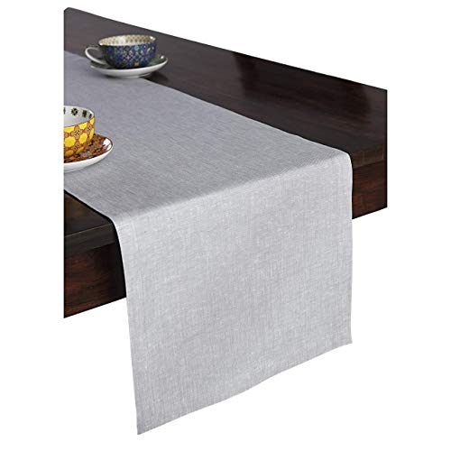- Solino Home 100% Pure Linen Table Runner - 14 x 108 Inch, Tesoro Runner, Natural and Handcrafted from European Flax - Light Graphite (Renewed)