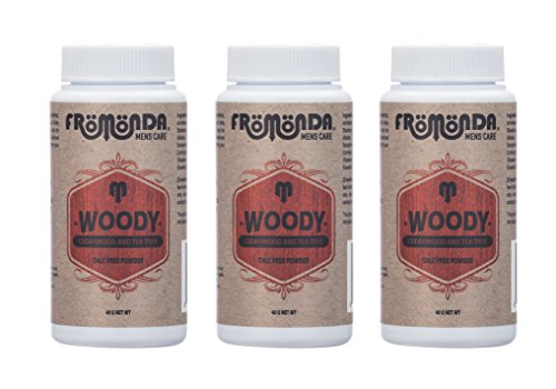 Fromonda Woody Talc Free Body Powder. All Natural. (Pack of 3), Travel Size by Fromonda