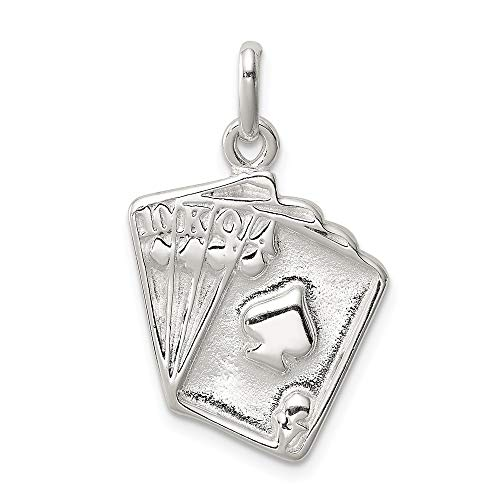 925 Sterling Silver Playing Cards Pendant Charm Necklace Gambling Fine Jewelry Gifts For Women For Her
