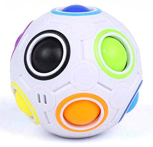 Bdwing Magic Rainbow Ball BD09 2.5 Inches Intelligence Magical Rainbow Ball Cube Fidget Toy, 3D Puzzle Toys, Fun Fidget Balls, Football Design, Speedcube Educational Toy for Kids and Adults[New] ()