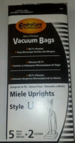 5 Miele Upright Style U Vacuum Bags + 2 Filters with Disinfected Self-closing Seal and Filters, Allervac, Upright Vacuum Cleaners, 07805130, 7282050 4002514835983, 780513000017, S7280 , S7280, S7260
