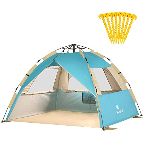 Gorich 2019 Upgraded Easy Set Up Beach Tent with SPF UV 50+ Protection, Beach Sun Shelter Canopy Cabana for Family Trip, Protable 4 Person POP UP Beach Umbrella Beach Shade for Camping Sprots Fishing