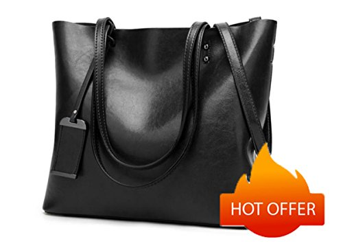 Women Genuine leather Shoulder Bags Zipper Handbags for Women Top Handle Bag Tote Bags by YUNS (Black) by YUNS